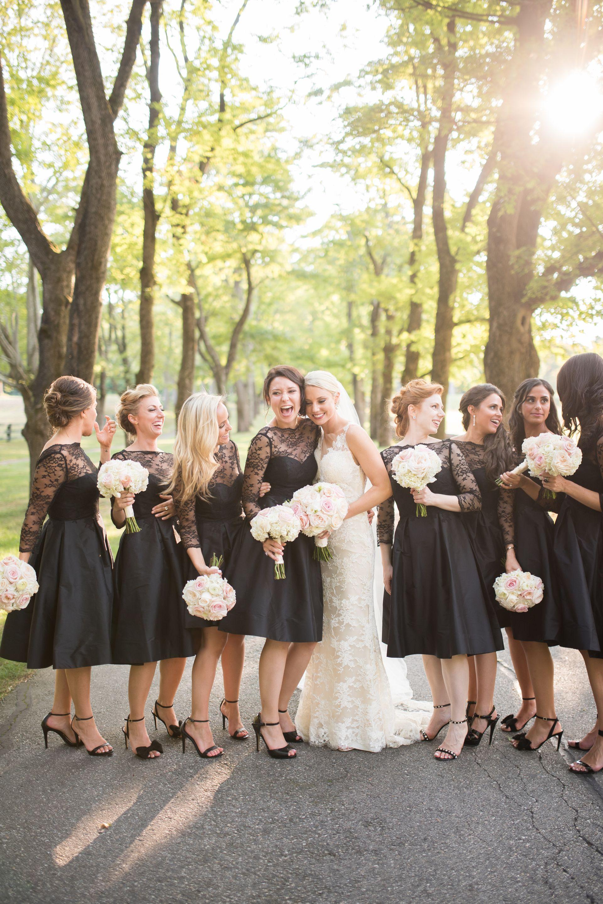 Chic Bridal Party Black Mid Length Bridesmaid Dresses Long Sleeve Lace Dr Short Black Bridesmaid Dresses Black Lace Bridesmaid Dress Black Bridesmaid Dresses