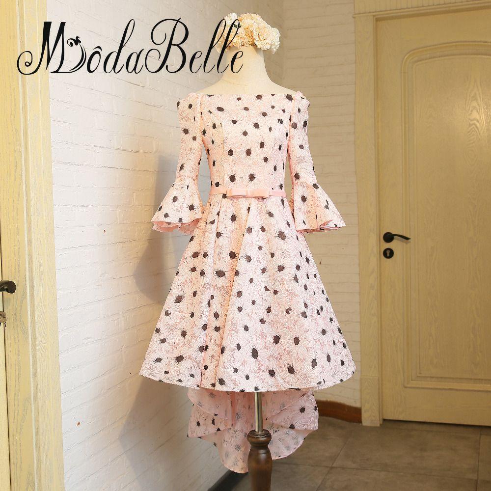 Modabelle high low lace prom dress long sleeve vestidos de