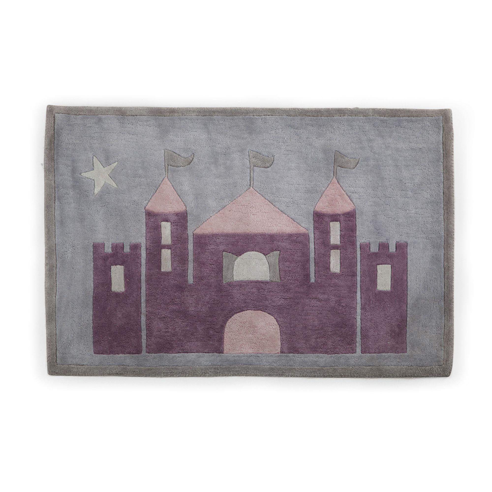 Tapis 90x130cm motif ch¢teau pour chambre d enfant Multicolore