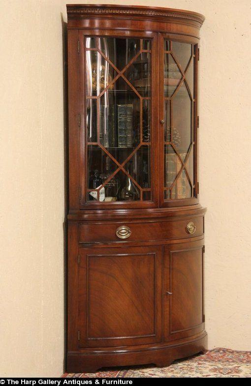 Drexel Travis Court Vintage Curved Glass Corner China Display Cabinet