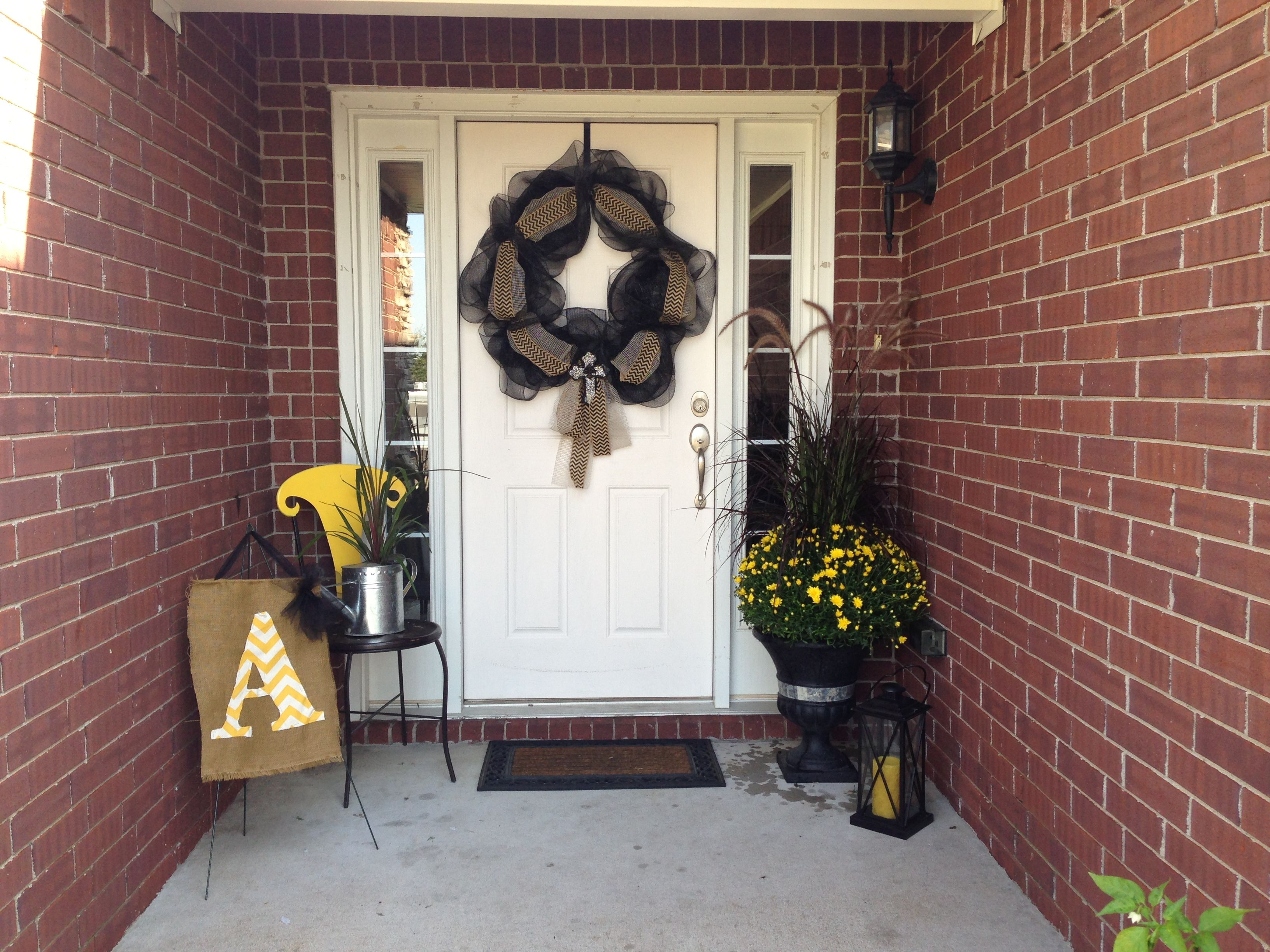 My Front Door Fall Decorations Bought Stuff At Hobby Lobby To Make The Garden Flag Painted The