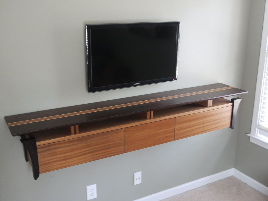 Tv wall console wenge and sapele wall mounted tv console for Tv console with storage