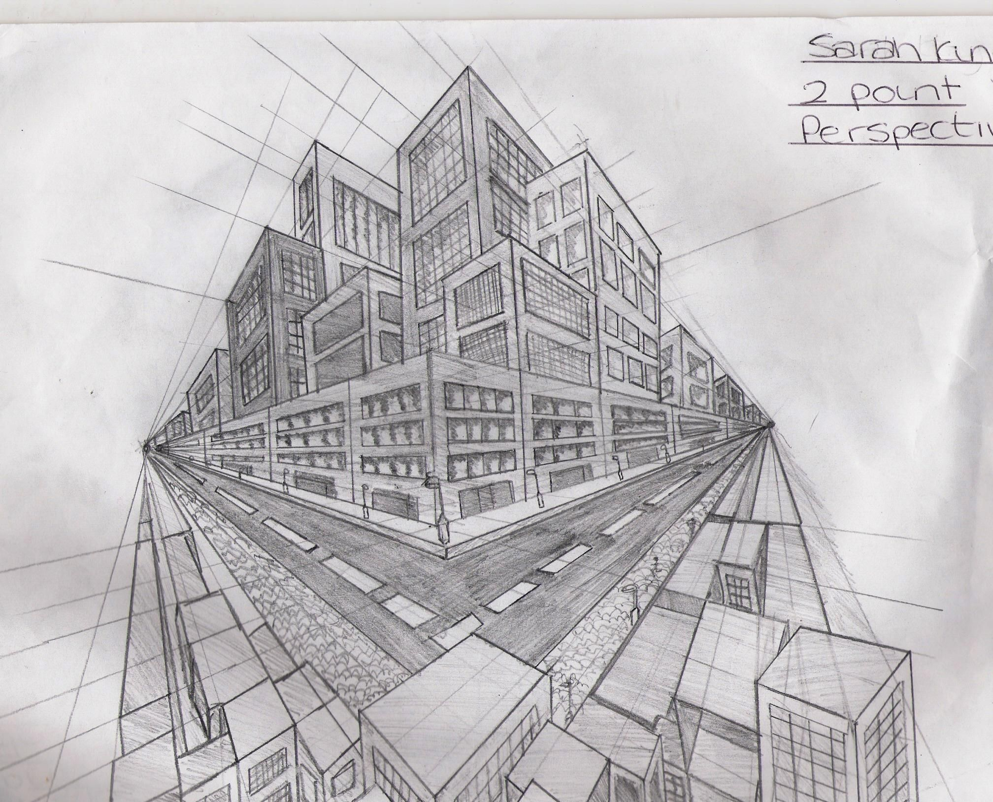 perspective drawings of buildings. 2 Point Perspective Buildings Drawings Of E