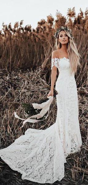 Off Shoulder Vintage Lace Mermaid Cheap Wedding Dresses, Shore Sleeves Bridal Dresses, WD432 13