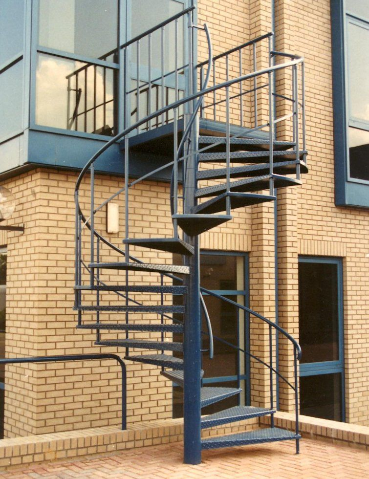 Best Spiral Fire Stairs Blue Powder Coated Fire Escape Spiral 400 x 300