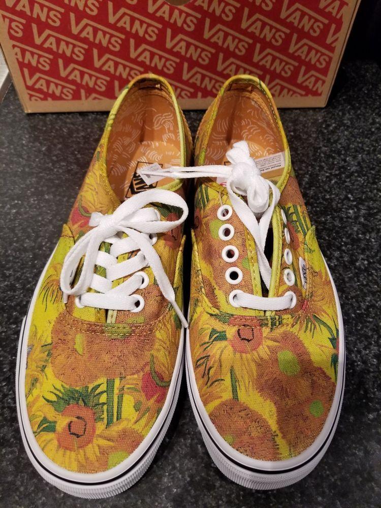 Vans X Van Gogh Sunflowers Authentic New With Box Mens 7 5 Womens 9 Artsy Shoes Vans Van Gogh Sunflowers