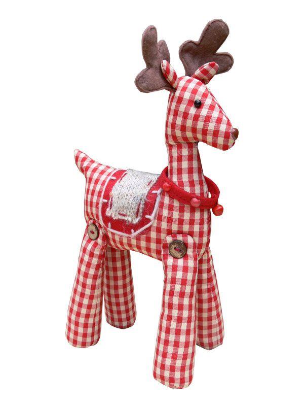 Gingham fabric standing reindeer | Patchwork, pillow,applications ...
