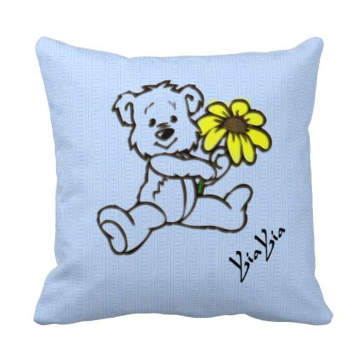 Cute Little Flower Bear Yia Yia Throw Pillow