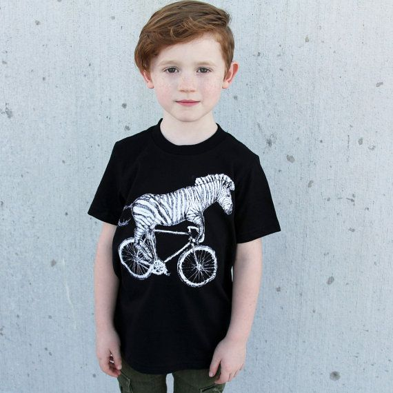 Size 2 - Kids Clearance - Zebra on a Bicycle Kids Tee - Dark Cycle Clothing