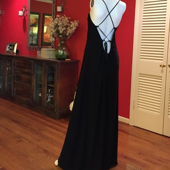 Black Silk Jersey Gown Like new! Worn only twice. Full length. 100% silk jersey with silk trim. Plunging neckline & back with crisscross detail. Super long ties that you can let hang or wrap around your waist. Abi Ferrin Dresses Backless