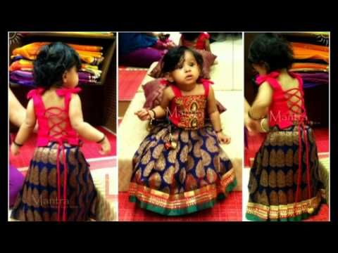 3037f972d Pattu Pavadai Cutting in tamil Silk Skirt Dress for Baby Girls Part ...