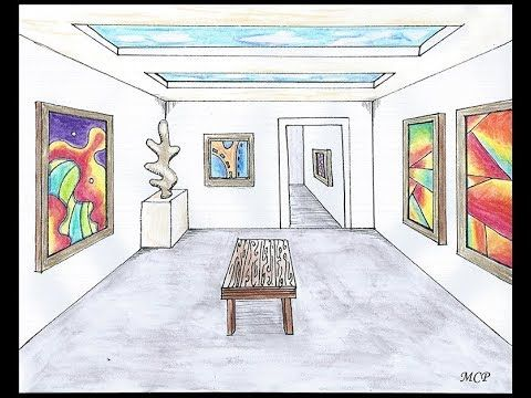 Art Gallery (Room)- One Point Perspective Tutorial ... Easy One Point Perspective Drawing For Kids