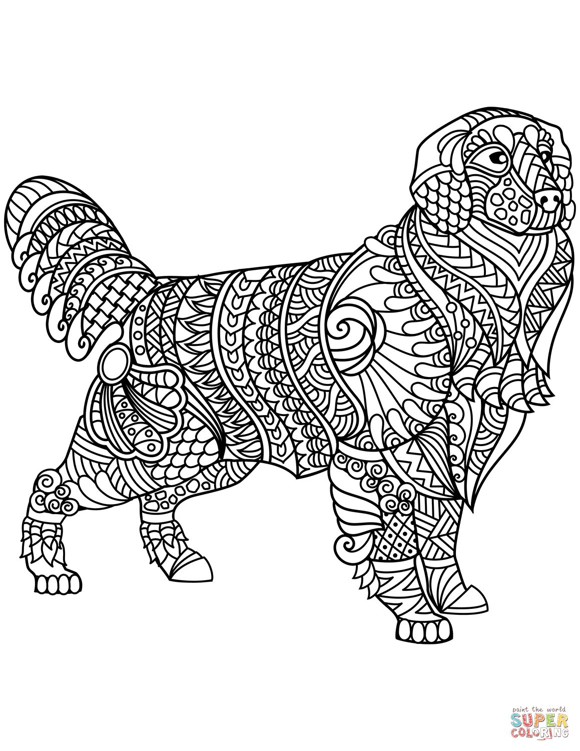 Golden Retriever Coloring Page Golden Retriever Zentangle Coloring