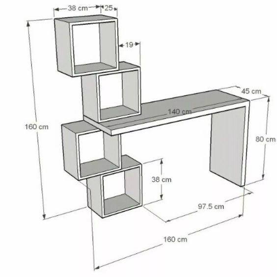 Escritorio Moderno Minimalista Mesa Para Pc Con Cubos Bs 89 990 00 Con Imagenes Muebles Muebles Para Computadora Planos De Muebles