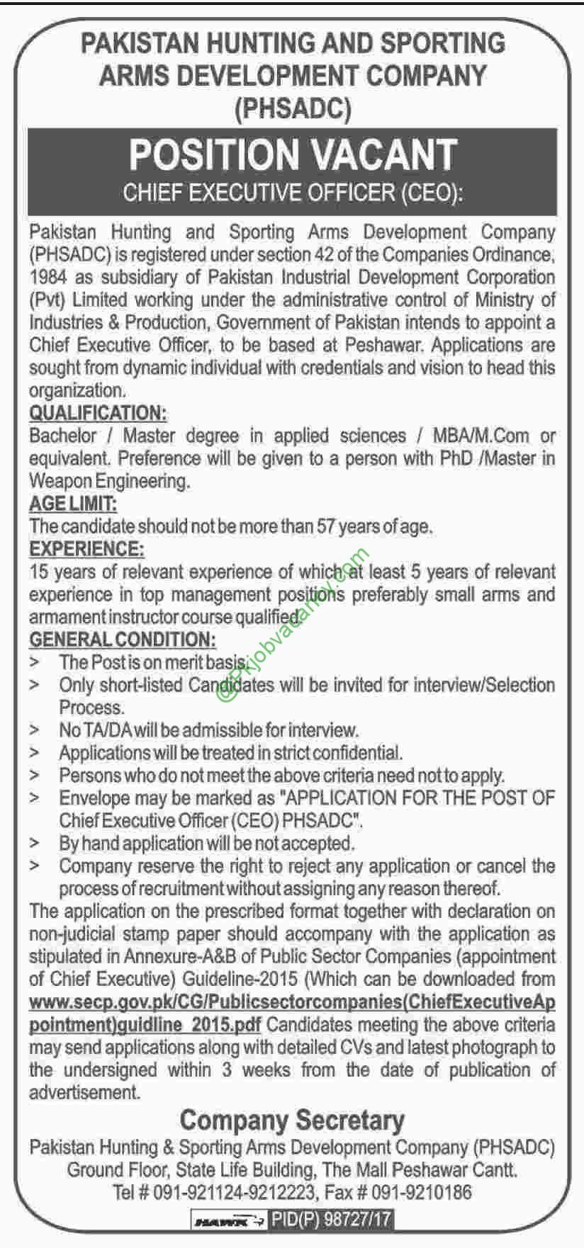 Pakistan Hunting and Sporting Arms Development Company PHSADC Jobs 2017