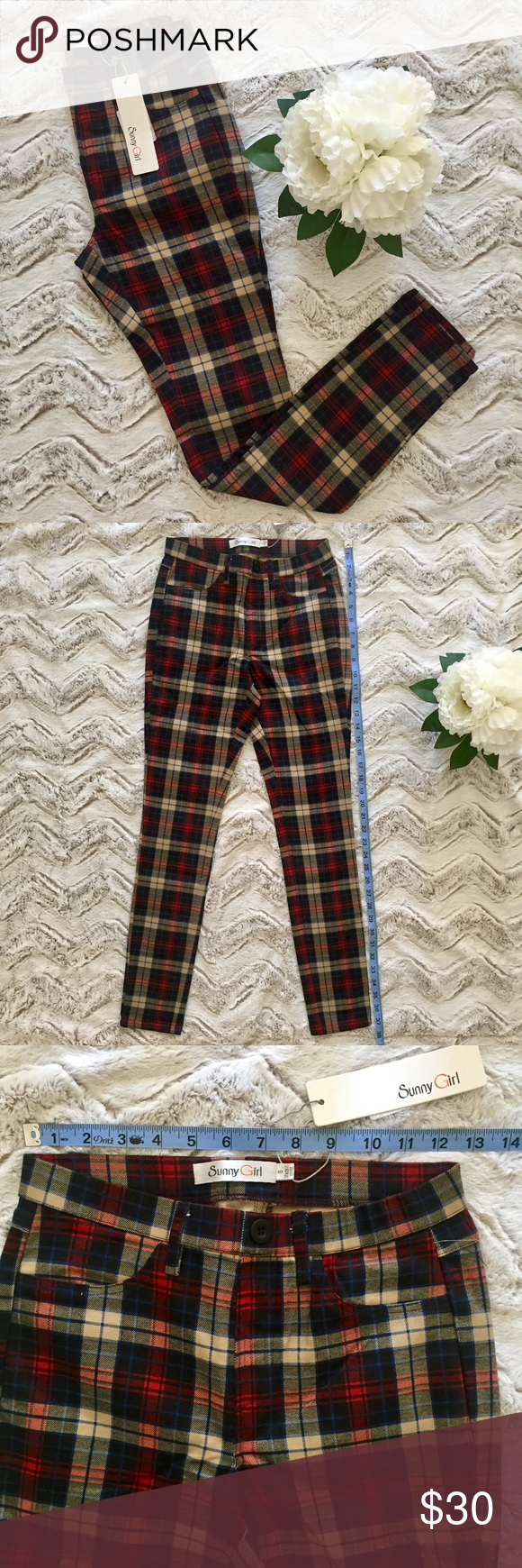 🆕STRETCH SKINNY PANTS PLAID BLACK KHAKI RED🆕 🆕NEW WITH TAGS🆕Stretch skinnies.  Plaid is black, khaki, red, and blue.  Decoratively buttoned and faux front pocket.  Cotton and elastane blend.  NEW Sunny Girl Pants Skinny