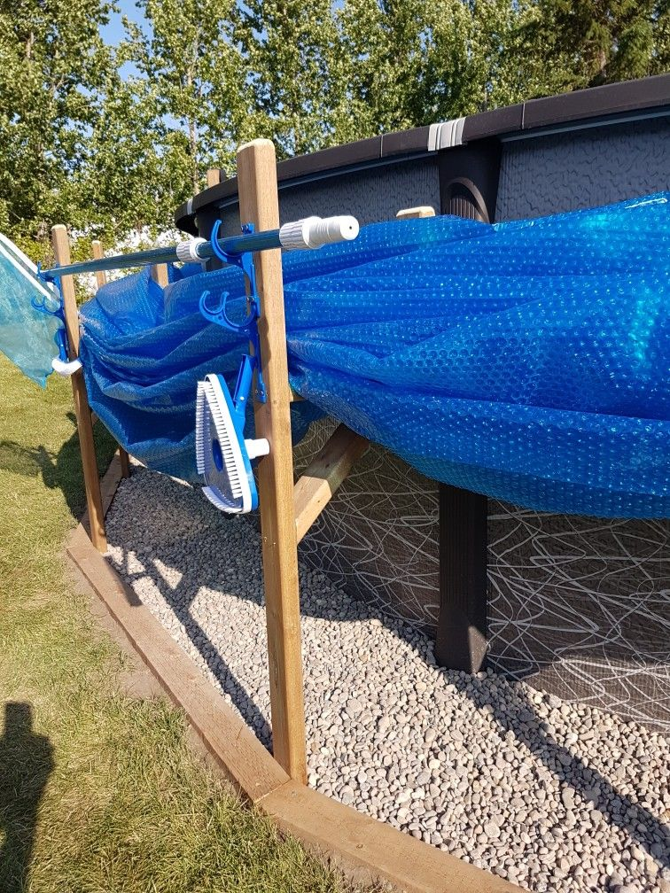 Pool cover and tool holders Above ground pool, In ground