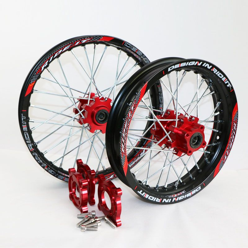 15mm Front 1 40 14 Rear 1 85 12 Alloy Black Wheel Rim With Cnc Red Hub For Pit Pro Bse Pister Pro Dirt Bike Pit Bike Parts Gold Wheels Wheel Rims Pit Bike