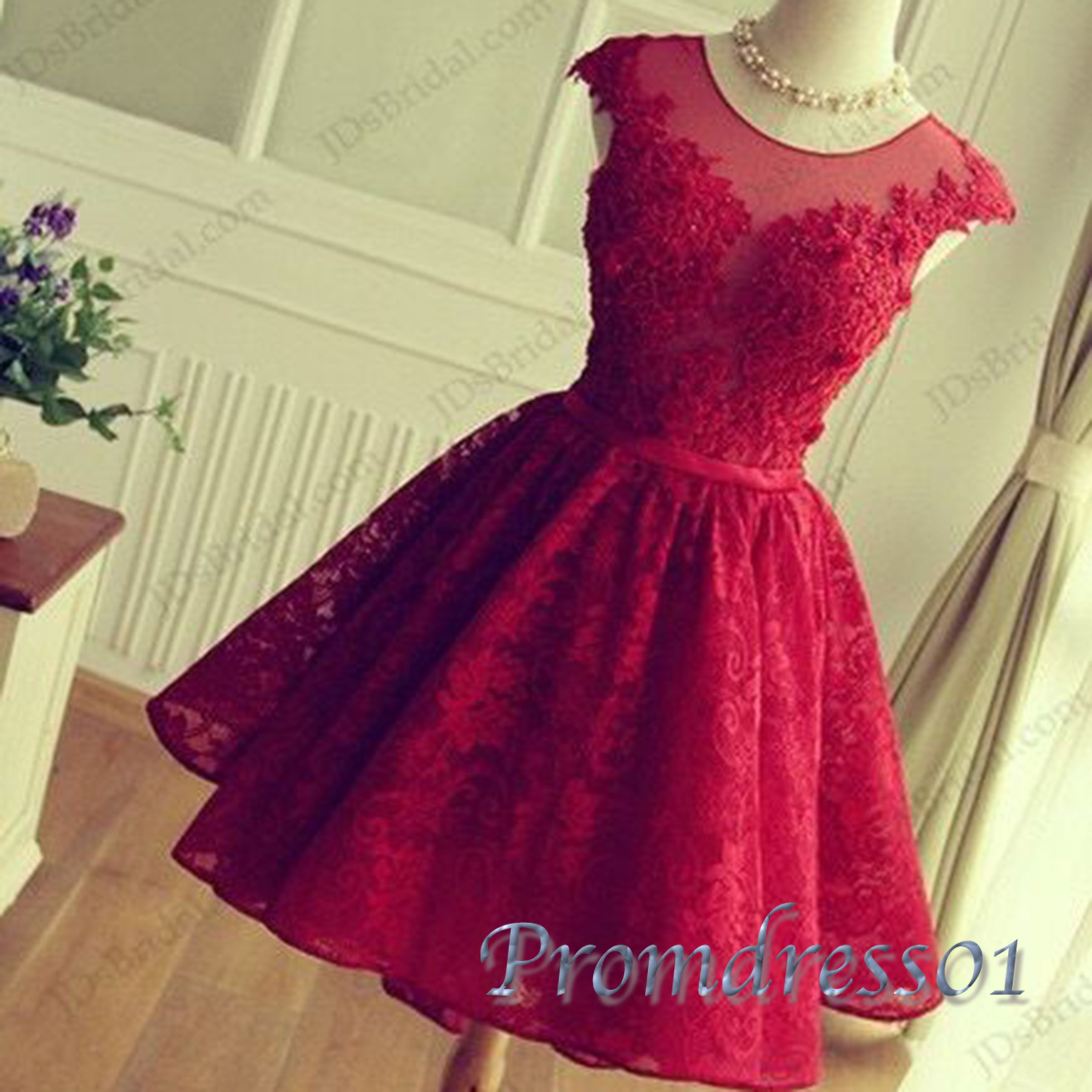 Cute round neck aline lace short prom dress for teens sleeved