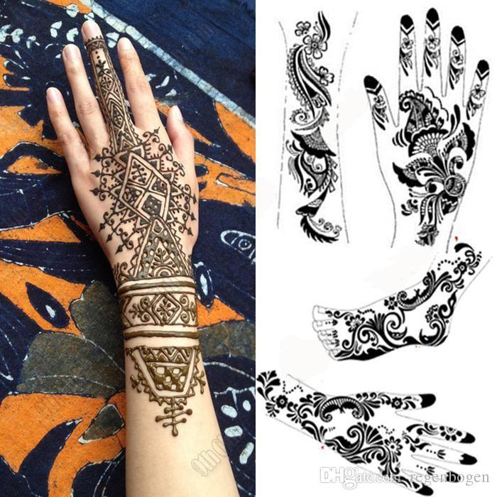 2pcs mehndi henna tattoo schablone viele gro e schwarze henna t towierung f r k rper malen. Black Bedroom Furniture Sets. Home Design Ideas