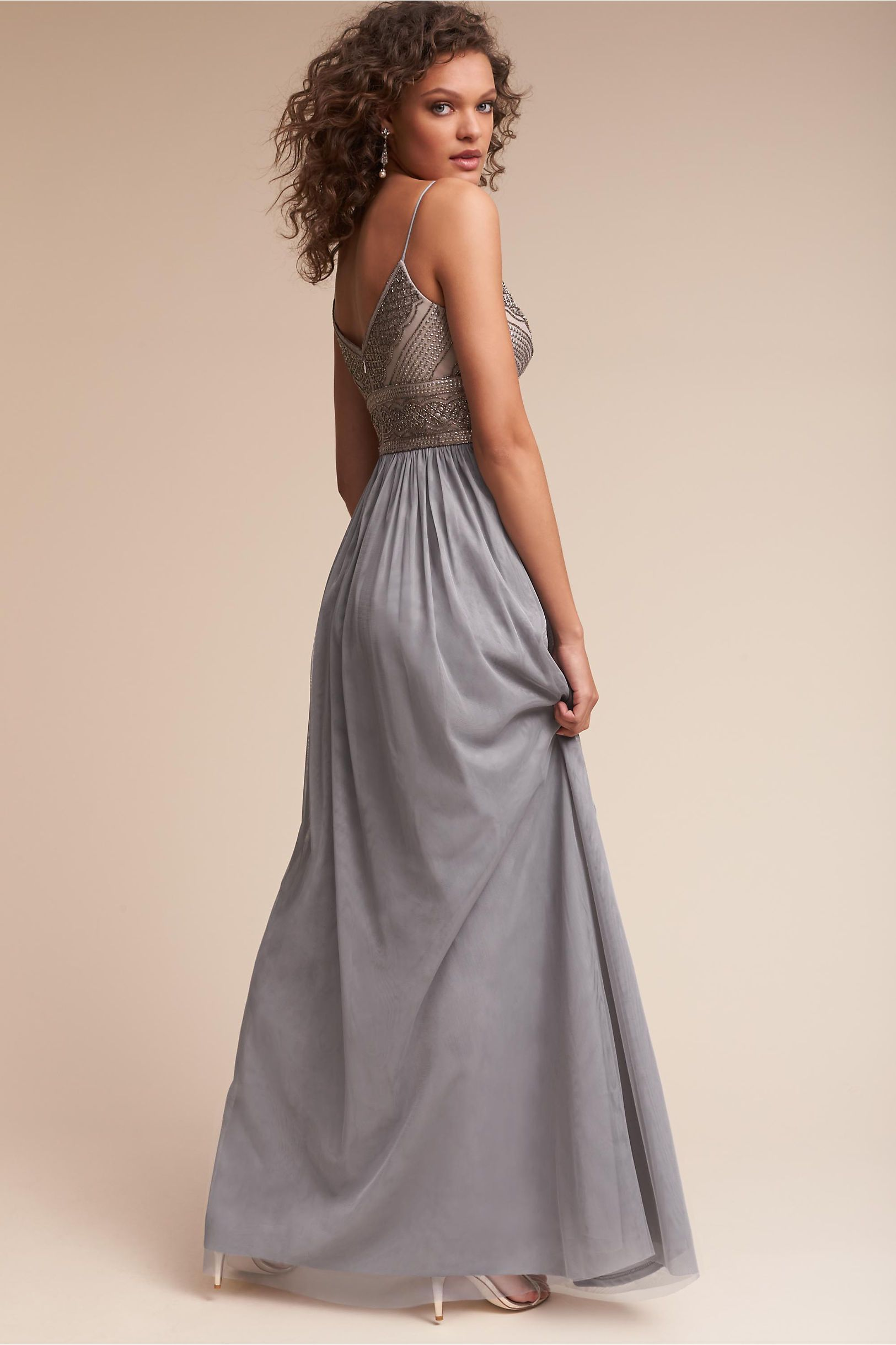 Bhldn silver grey aida dress in bridal party bhldn dress code
