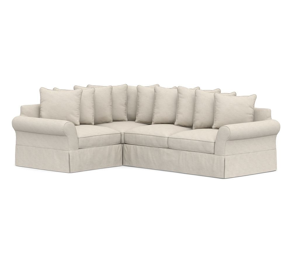 Pb Comfort Slipcovered Right 3 Piece Sectional With Corner Sectional Slipcovers Living Room Furniture Pottery Barn Sectional Slipcover Slipcovers 3 Piece Sectional