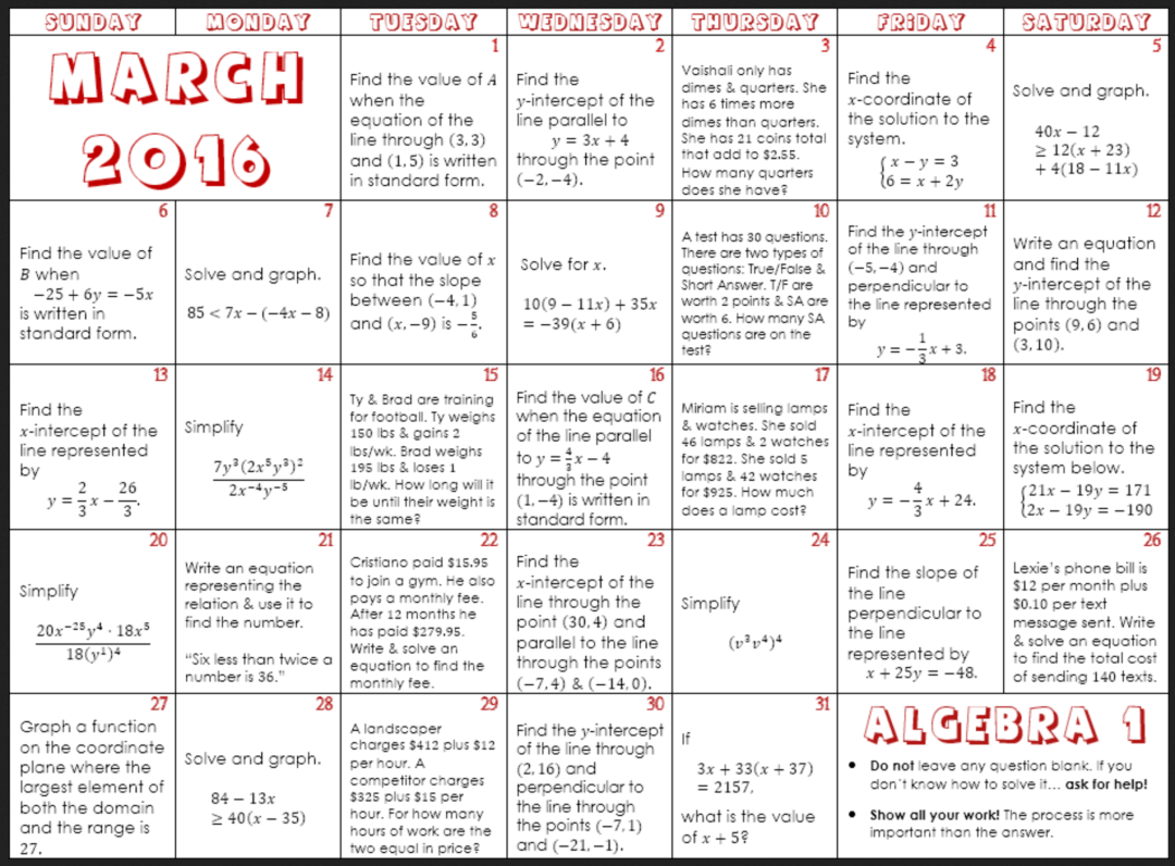 March Math Calendars For Elementary Through High School