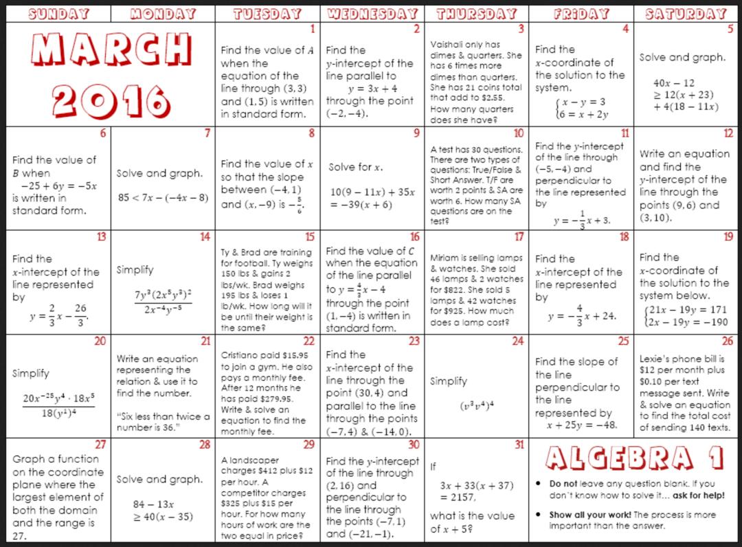 March Math Calendars