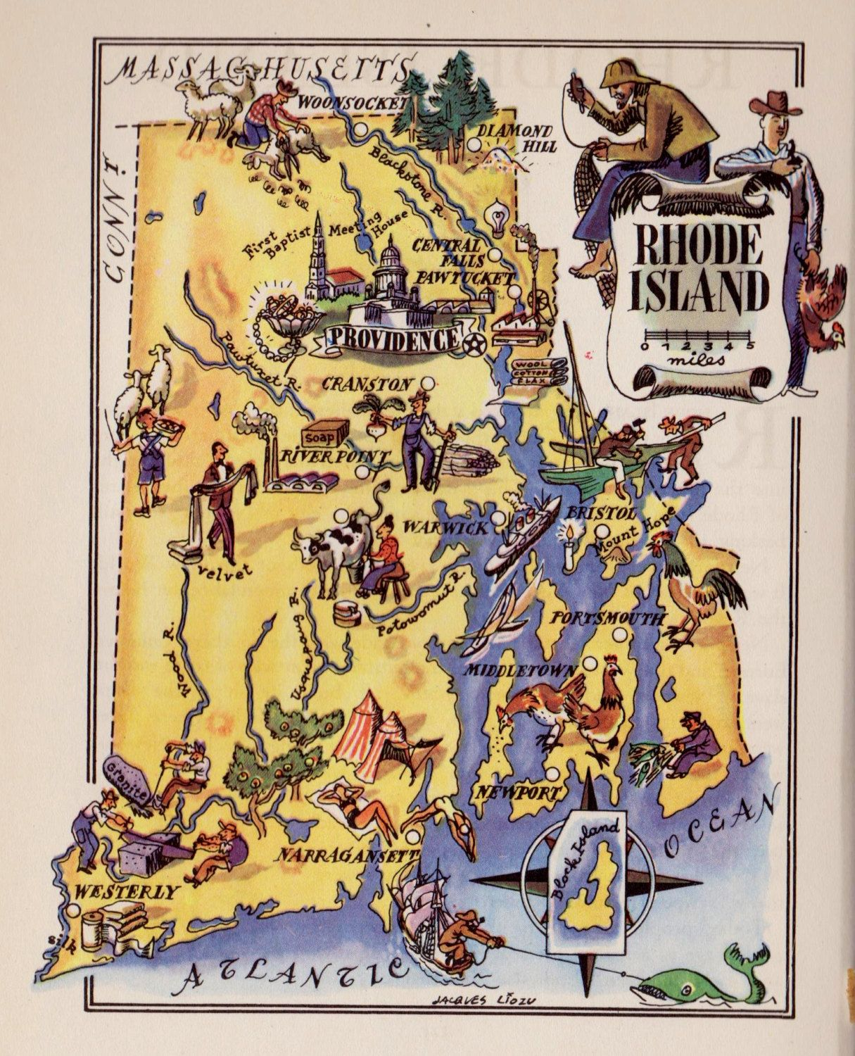 Fun S Vintage Rhode Island Picture Map Pictorial