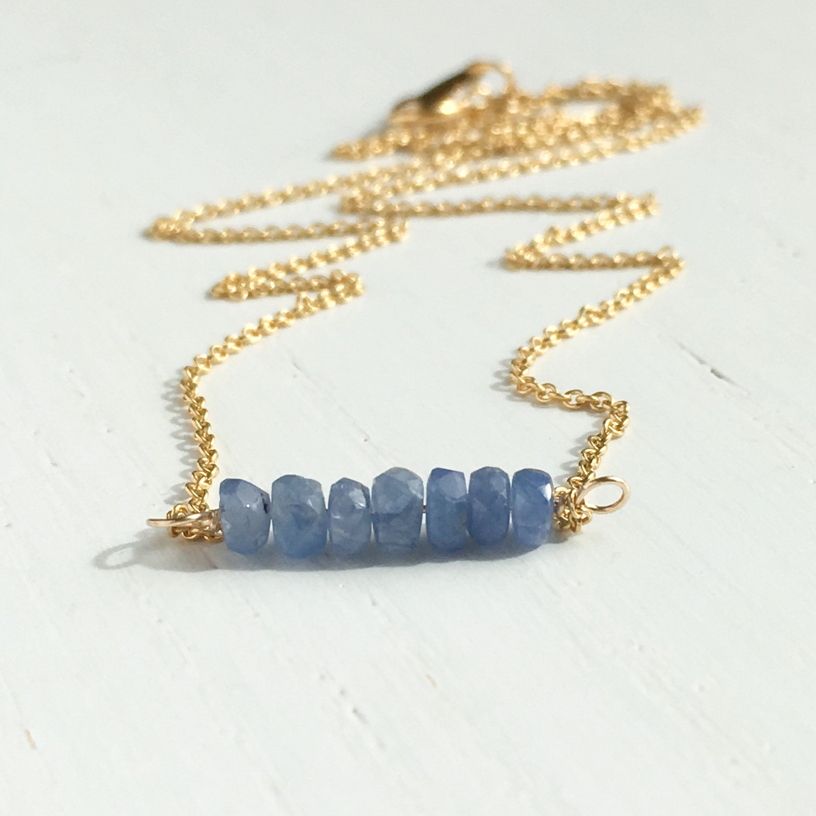 Light Blue Sapphire Necklace September Birthstone Necklace Choker Necklace 14 Inch Necklace Christmas Gift For Her Girlfriend Birthday Blue Sapphire Necklace September Birthstone Necklace Sapphire Necklace