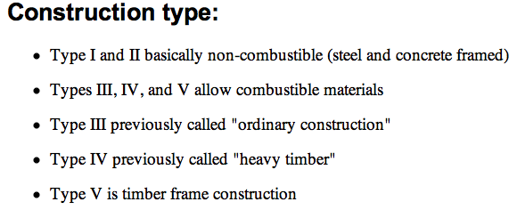 CONSTRUCTION TYPES code | bdcs (building design and