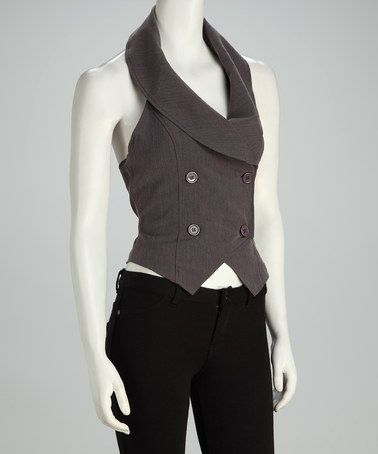 e70154468ef Take a look at this Gray Double-Breasted Halter Vest by Style ...