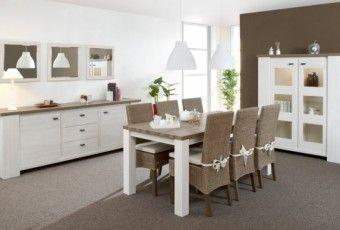 buffet salle manger moderne blanc beige