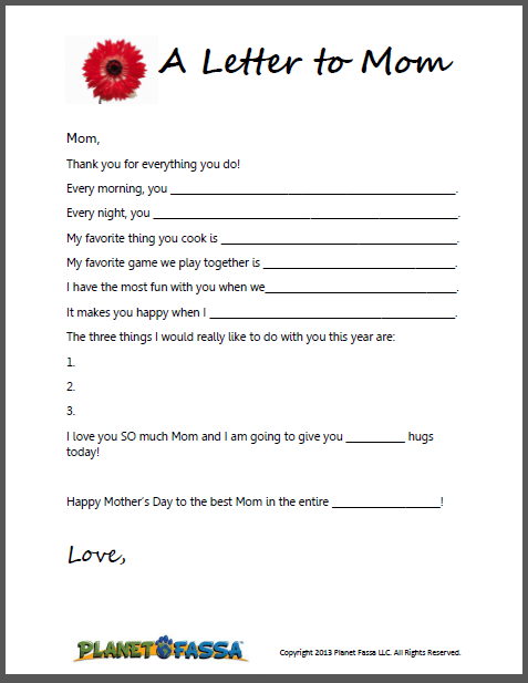 a letter to mom cute printable template for kids to write a letter to their mom for mother 39 s. Black Bedroom Furniture Sets. Home Design Ideas