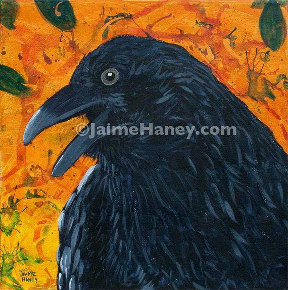 Black Raven or Crow painting 8x10 print Raven Festival by JaimeHaneyArt, $26.00
