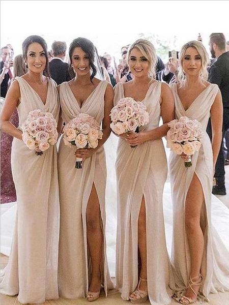 Simple A Line V Neck Sleeveless Floor Length Side Slit Long Bridesmaid Dresses, SW1006