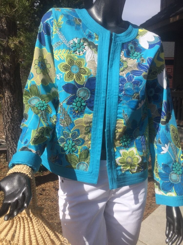 Chico's Turquoise Floral Jacket Size 0 Beautiful Summer Appliqué Stunning | eBay