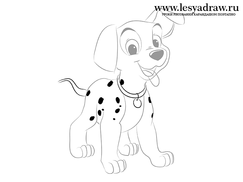 how to draw a dalmatian step by step