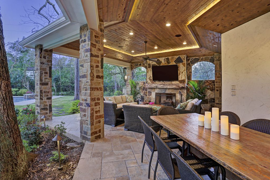 gorgeous covered patio and outdoor kitchen by texas custom patios outdoorliving outdoor on outdoor kitchen and living space id=39417