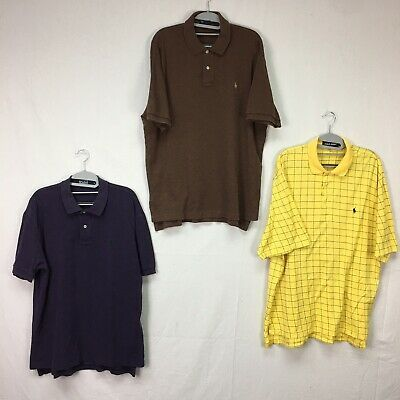 Lot of 3 Ralph Lauren Purple Brown Yellow Check Pattern Solid Polo Shirt Mens L #fashion #clothing #shoes #accessories #men #mensclothing (ebay link)