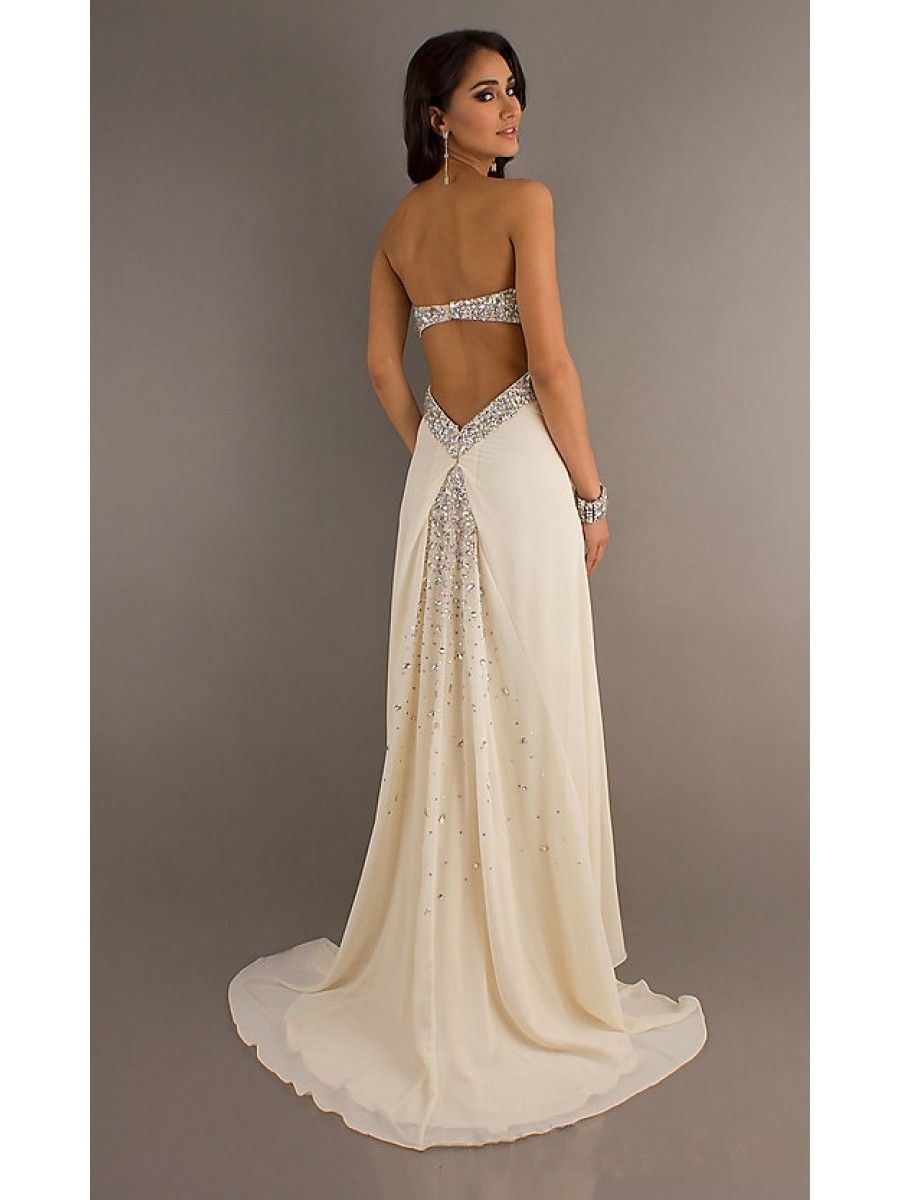 Column Empire Beaded Long Chiffon Prom Evening Formal Maternity ...
