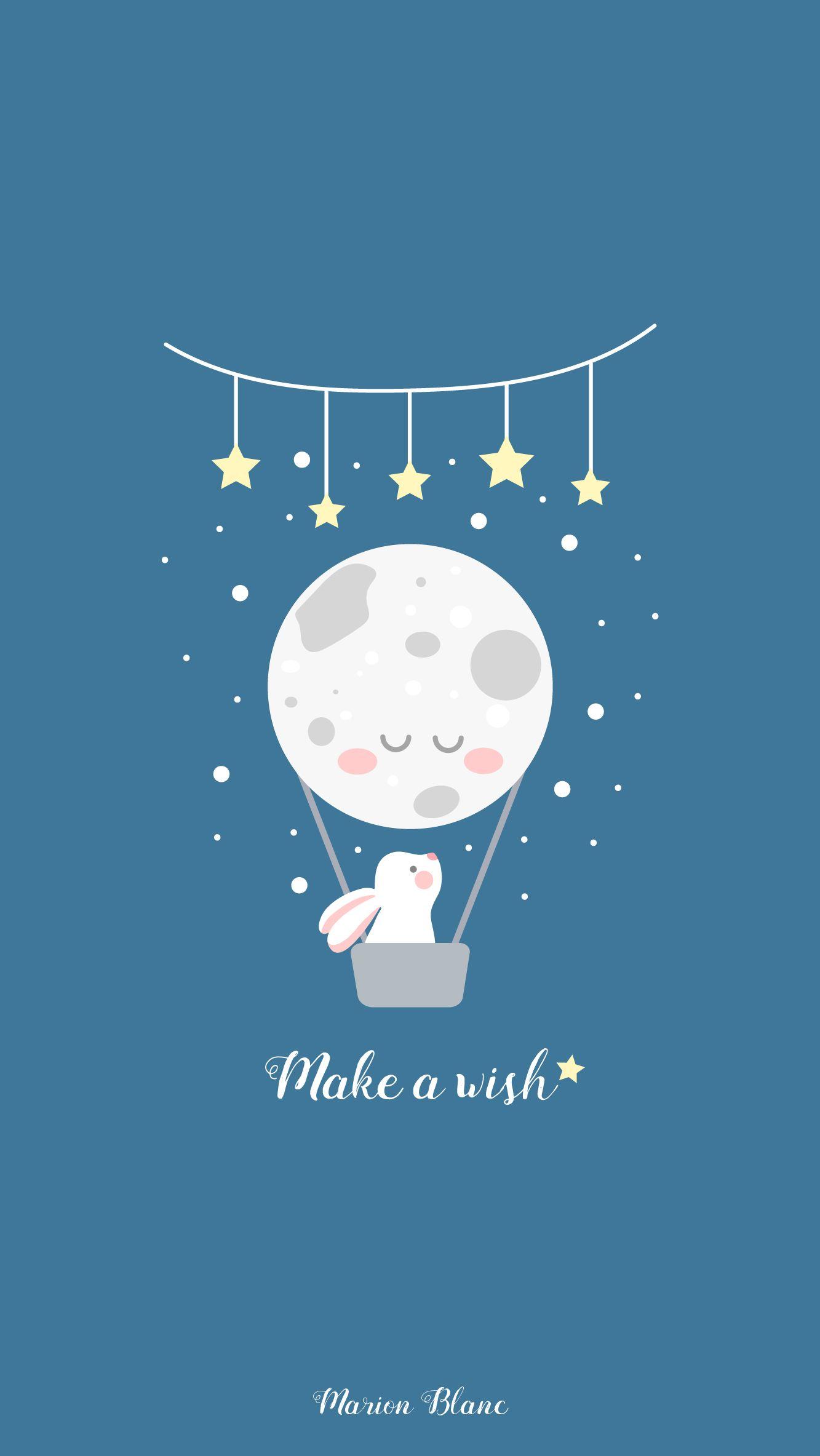 Wish illustration marion blanc click save screen - Kawaii phone backgrounds ...