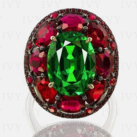 """IVY ring will be featured in Sotheby's ""Magnificent Jewels and Jadeite"" auction in Hong Kong on October 7th. TSAVORITE AND RUBY RING, IVY An IVY…"""