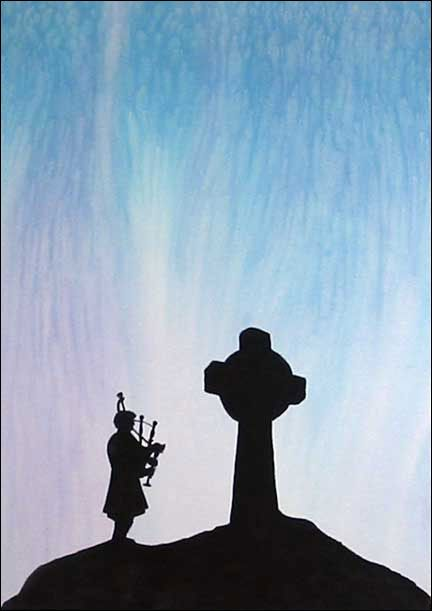 Scotland Silhouette Of Bagpiper And Celtic Cross