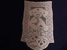 Vintage Crochet Wall Hanging, Puppy and Pansies Handmade Crochet Doily