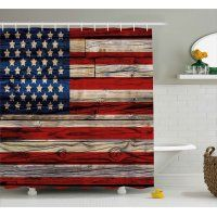 4th Of July Shower Curtain Old Fashion Retro Illustration With