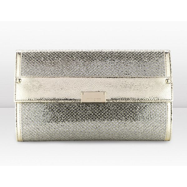 d51cb794fab Jimmy Choo Reese L Champagne Glitter Fabric Clutch Bag ($750) ❤ liked on  Polyvore