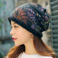 Details about Women Warm Plus Velvet Thicken Beanie Hat Collar Cashmere Fashion Painting Hat #beaniehats