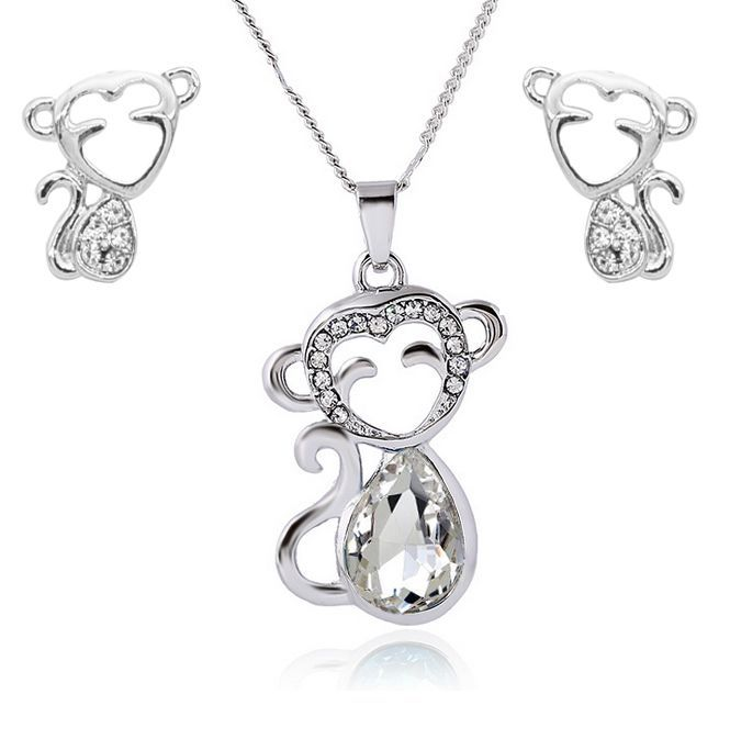 Monkey Necklace And Earrings Set