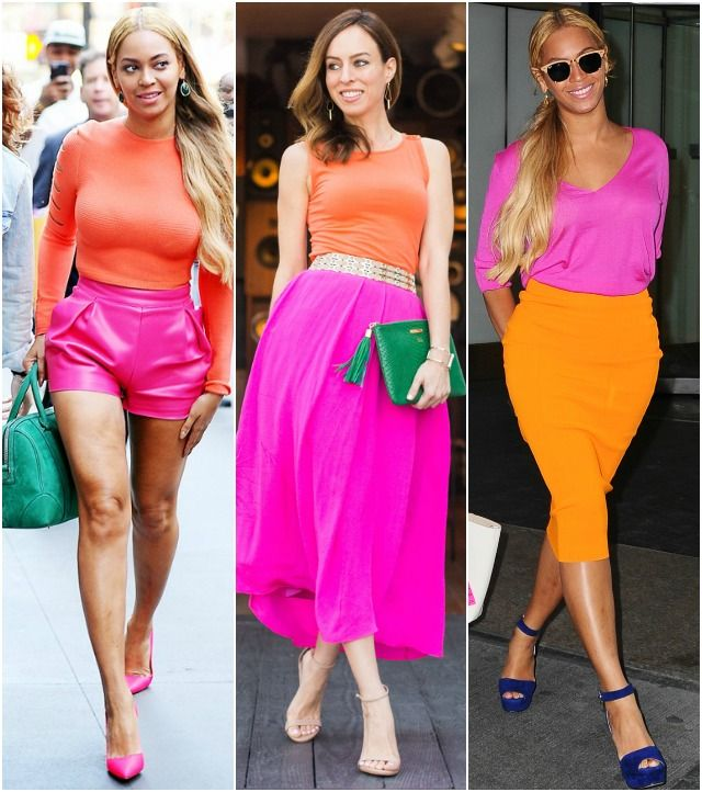 Inspired By: Beyoncé's Pink & Orange, color blocking, pink skirt ...